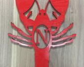 Unfinished Wood Crawfish Monogram Door Hanger Laser Cutout w/ Your Initial, Various Sizes, Home Decor, Crayfish, Louisiana, Mudbug