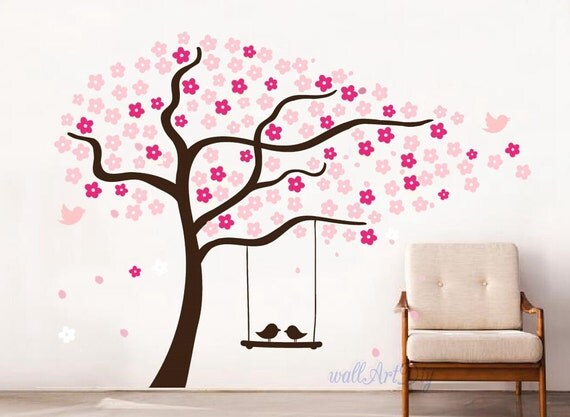 Arbre mural stickers p pini re cerise pochoirs rose wall for Pochoir arbre