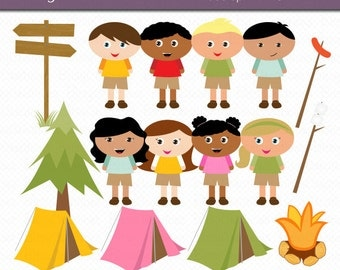 Camp Kids Digital Art Set Clipart Commercial Use Clip Art INSTANT DOWNLOAD Summer Camp Clipart