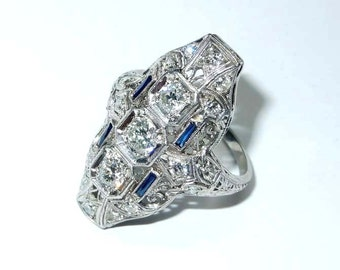 Antique Estate Platinum 0.85 Ct Old Miner Diamond Sapphire Filigree Long Finger Ring