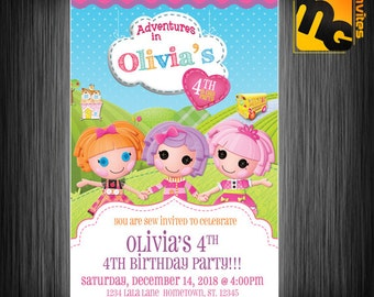 Lalaloopsy invite, Lalaloopsy invitation, Lalaloopsy birthday party