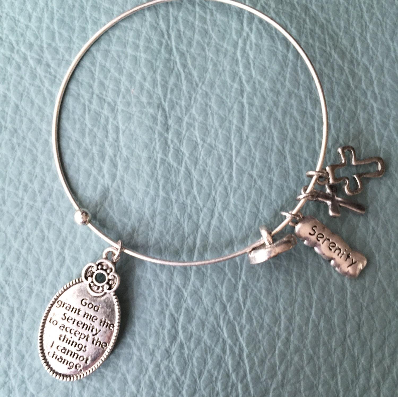 serenity prayer antique silver bracelet inspired bangle