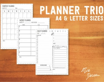 PLANNER TRIO  - Printable daily/weekly/monthly planners - A4 + letter sizes