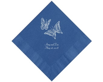 Butterfly Wedding Napkins Personalized Set of 100 Napkins