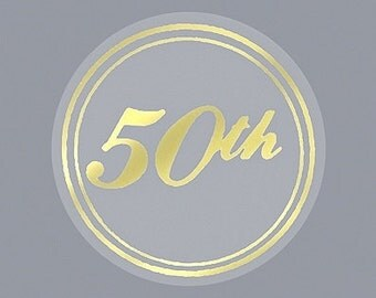 50th Gold Anniversary Envelope Seals Stickers (Pack of 25)