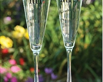 Mr. and Mrs. Wedding Flutes Toasting Glasses