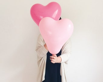 Pink Heart Balloon 6 pack - rose light pink - bridal valentines engagement shoot - photoshoot