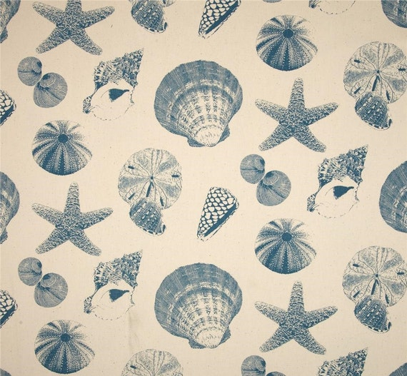 Custom fabric shower Curtain Premier Prints Shells Pacific Natural 72 ...