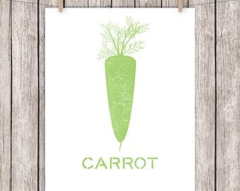 Kitchen Printable Art Carrot Vegetable Art Print Green Kitchen Wall Art Vegetarian Vegan Poster 8 x 10 Instant Download