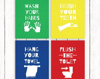 Kids Bathroom Printable Art Set Primary Colors Blue Green Red Yellow Childrens Bath Wall Art 8 x 10 Instant Download Digital File