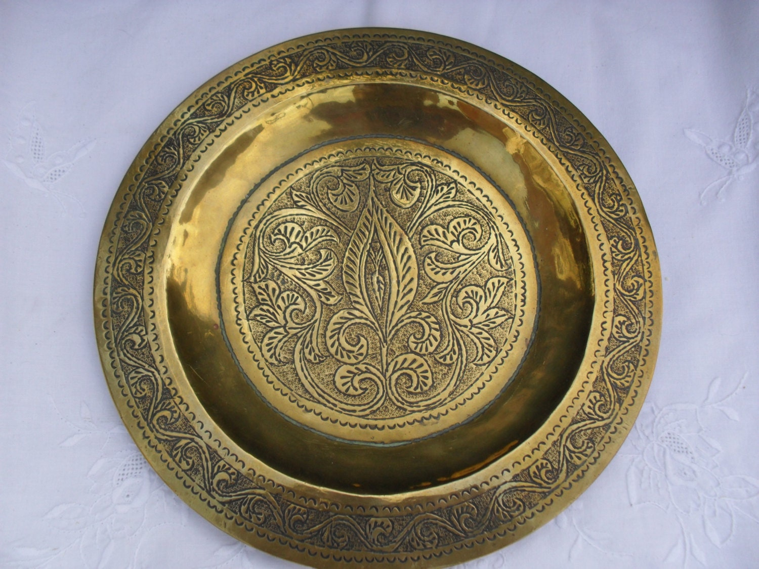 Brass Wall Plates Decor : Vintage brass wall plate decor engraved design inch