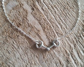 Sterling Silver Snaffle Bit  Necklace, Equestrian Jewelry