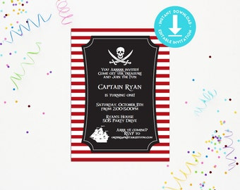 Pirate Party Invitation - INSTANT DOWNLOAD Printable Pirate Invitation- by Printable Studio