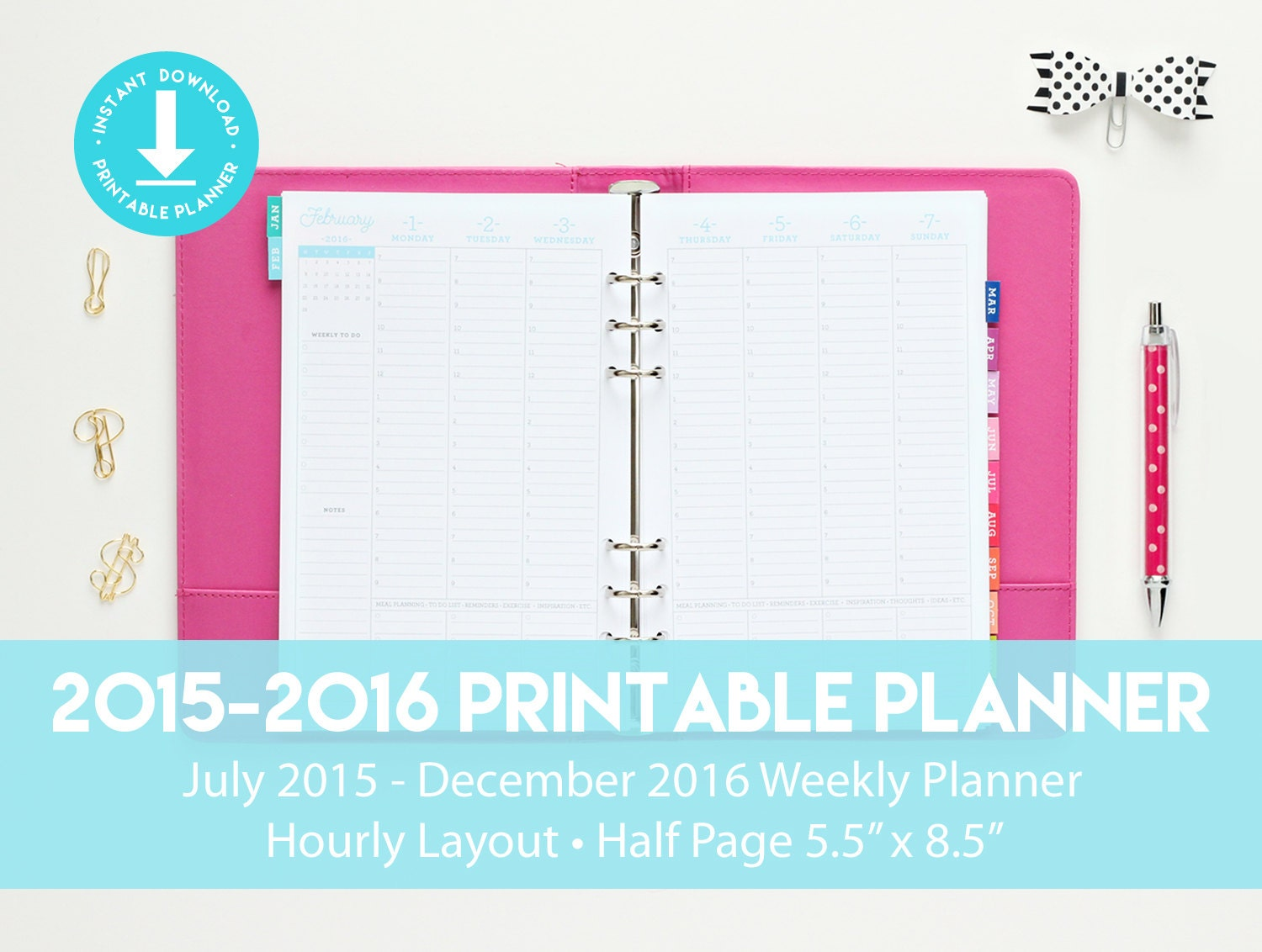 Printable Planner with Hourly Layout by PrintableStudio505 on Etsy