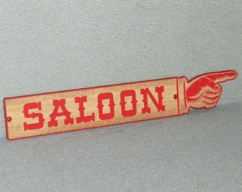 "LARGE 24"" Rustic Wooden Saloon Finger Pointing Sign Man Cave Western"