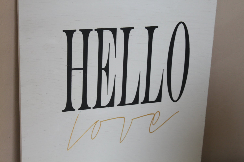 Hello Love Wood Sign Home Decor Sign By Bluearrowdesignco