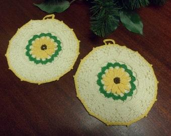 Hand Crocheted Flower  Pot Holders