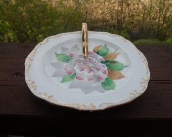 Rare, Vintage Rossetti  lemon Dish, Bon Bon, Flower Plate ,Made in Occupied Japan, Hand Painted,