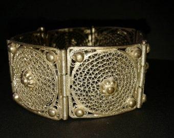 Vintage filigree panel bracelet.