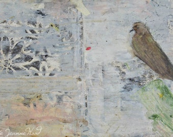 Digital Print - Mourning Dove Bird Painting - Animal Portrait Wildlife Art - Home Office Wall Decor - Muted Colors - 39
