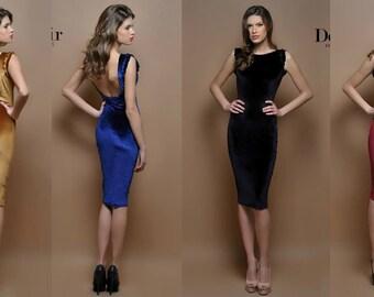 Velvet Mini Bodycon Open Back Dress  Long Sleeves