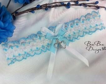 Turquoise blue wedding garter, bridal garter, something blue garter, lingerie