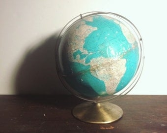 Vintage Rand McNally Double-Axis Teal Globe