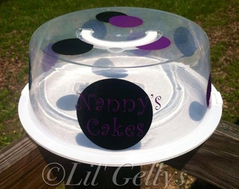 Cake Container with Lid,Personalized,Nanny's cakes,Cookie Container,Brownie Container,Black and Purple,Polka Dots,mothers day gifts,plastic