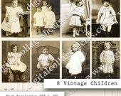 8 Antique Children Photographs Digital Collage Sheet Vintage Sepia Black and White Instant Download Mixed Media Altered Images dcs49