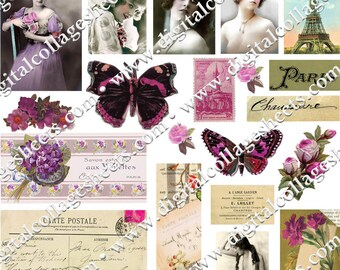 French Ephemera ATC Collection Vintage Digital Collage Sheet Instant Download Mixed Media Altered Art Images dcs30