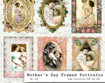 Mother & Child Framed Portraits Digital Collage Sheet Mother's Day Vintage Photograph Instant Download Mixed Media Altered Art Images dcs476
