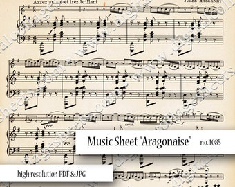 Music Sheet Vintage Digital Collage Sheet Instant Download Mixed Media Collage Altered Art Background Images dcs1085