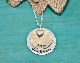Mothers necklace | hand stamped personalized necklace | 2 tone necklace with heart charm | Gift for Mom