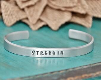 Strength hand stamped bracelet   Gift   Faith   personalized bracelet   Strength