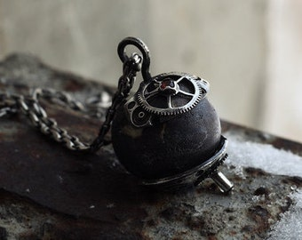 "Silver and handmade murano glass lampwork jewelry pendant Spacebase ""Soyuz-1"". Space steampunk Gorgeus gift"