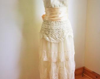Ivory lace boho wedding dress with vintage lace