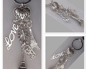 Vintage Style Antique Alloy Metal Eiffel Tower French Paris Keyring Keychain... 11cm in Length