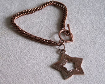 Bangle Bracelet copper with clasp T and Star