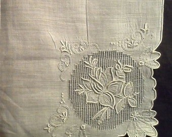 Openwork embroidered White Linen Handkerchief,  25% Off! Coupon Code - Summer