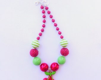 Cherries Chunky Bead Necklace, Red Cherries necklace, Cherries pendant, Toddler Necklace, Cherries bubblegum Necklace, Cherry Necklace