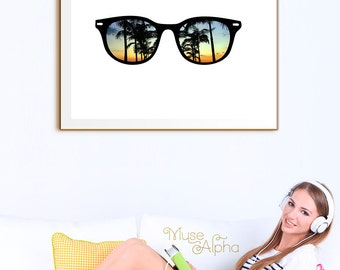 California Palm Tree Printable, Beach Sunset Printable. California Printable, Palm Beach Printable, Sunset Printable, Summer Printable Art