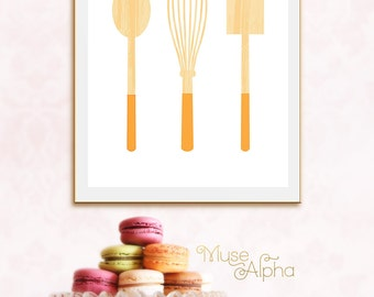 Orange Kitchen Decor, Kitchen Wall Decor, Rustic Kitchen Decor, Kitchen Art Printable, Kitchen Poster. Whisk Print, Whisk Art, Spatula Art