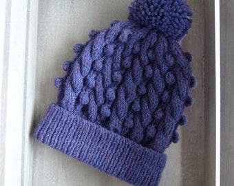 Cable & Bobble Knit Hat with Pom Pom in Violet