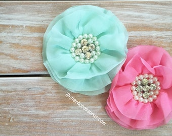 "2 Jeweled Rhinestone and Pearl Chiffon Flowers - 4"" Flower Head - Choose Color - Hair Accessory Supplies - DIY - Create Your Own Accessories"