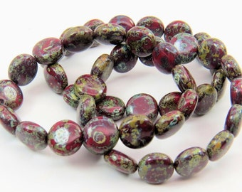 10mm Dark Red Coin Silver Gray Travertine Picasso Speckled Finish Opaque Pressed Czech Glass Lentils 15 Beads CPR052