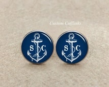 Cufflinks Anchor blue, Anchor Cufflinks, Men Silver Cuff link,Anchor Wedding Gift for Groom,Personalized Navy Blue Anchor Cuff,Royal anchors
