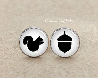Squirrel cufflinks, Squirrel Cufflinks Jewelry,Smart Squirrel Cufflinks, Pine nut cufflinks, Wedding Cufflinks, Glass Cufflinks,Cufflinks
