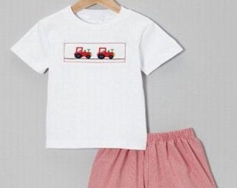 Smocked Tractor Short Set