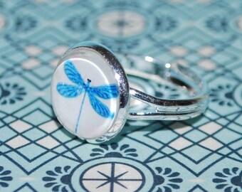 Adjustable ring - blue dragonfly