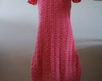 Vintage 1960's Pink Crochet Short Sleeve Boho Hippie Midi Dress Size Medium to Large Hand Made - M-453